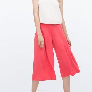 Zara coral red wide leg high waist cropped pants